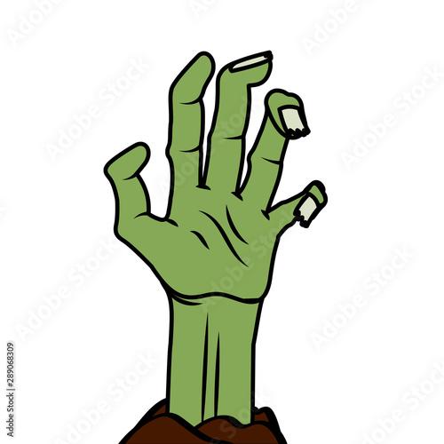 Cuadros en Lienzo Halloween zombie hand vector design