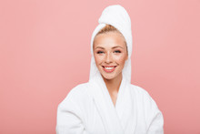 Arttractive Young Woman Wearing Bathrobe And Towel