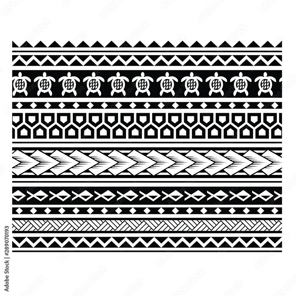 Fototapeta polynesian tattoo pattern vector illustration, border pattern geometric maori, tribal  tattoo maori, pattern samoan, seamless aboriginal ornament vector, Polynesian ethnic seamless texture, patterns