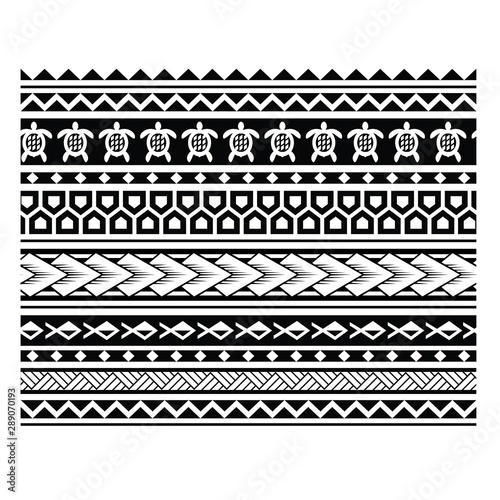polinezyjski tatuaż wzór ilustracji wektorowych, wzór geometryczny maoryski, plemienny tatuaż maoryski, wzór samoański, bezszwowy aborygenski ornament wektor, polinezyjska etniczna bezszwowa tekstura, wzory