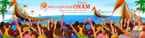 illustration of snakeboat race in Onam celebration background for Happy Onam fes Wallpaper Mural