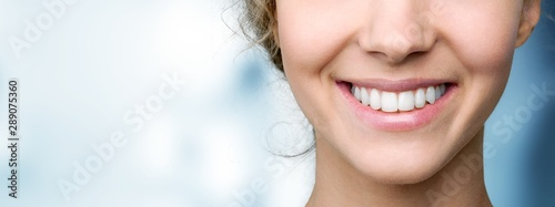 Beautiful wide smile of young fresh woman with great healthy white teeth Canvas