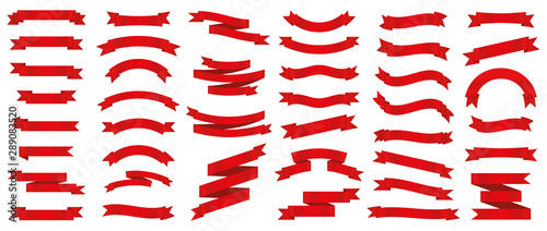 Obraz Different red ribbons banners collection. Vector illustration - fototapety do salonu