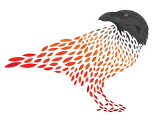 A Cartoon Crows. Stylized Rook. Vector Illustration Of A Bird. Tattoo.