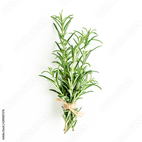 Fototapeta Green bundle of rosemary isolated on a white background. Мedicinal herbs. Flat lay. Top view obraz