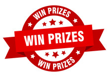 Win Prizes Ribbon. Win Prizes Round Red Sign. Win Prizes