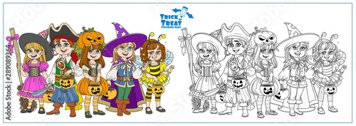 Children dressed in costumes of monsters and magic creatures for Halloween trick or treat color and outlined for coloring page