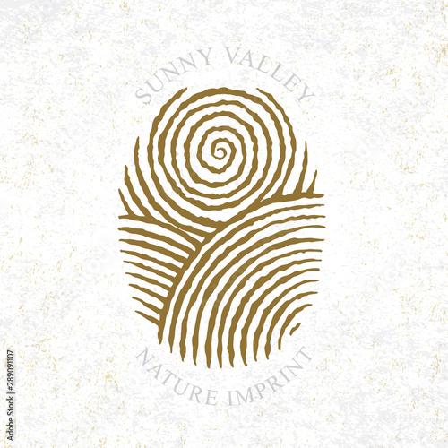 Obraz Sunny Valley logotype in fingerprint style. Sunny valley hand drawn illustration. Nature, meadows, sun and sky. - fototapety do salonu