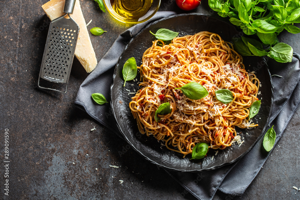 Fototapety, obrazy: Pasta spaghetti toamto and bolognese sauce with oilve oil parmesan and basil