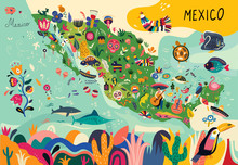 Map Of Mexico With Traditional...