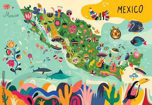 Photo Map of Mexico with traditional symbols and decorative elements.