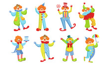 Collection Of Happy Funny Clowns In Action Poses, Funny Circus Comedian Characters In Bright Costumes Vector Illustration