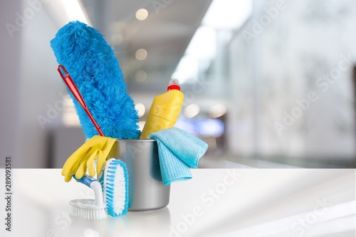 Fototapety, obrazy: Plastic bottle, cleaning  gloves and bucket on background