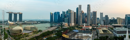 Super wide angle image of Singapore skyscrapers before sunset Canvas
