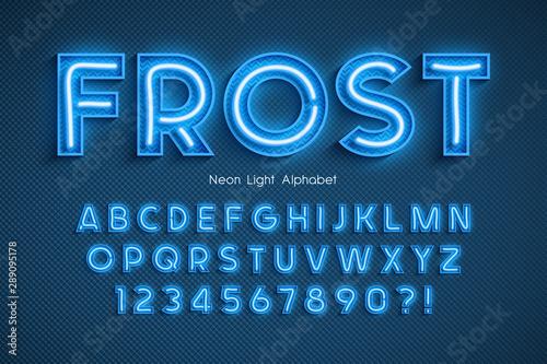 Photo Neon light 3d alphabet, extra glowing font.