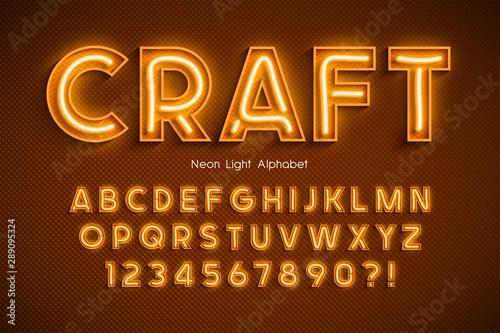 Neon light 3d alphabet, extra glowing font. Wallpaper Mural