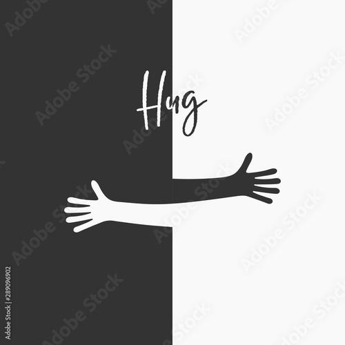 Simple line creating hug drawing. Vector illustration Canvas Print