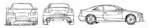 Fotografía Hand drawn sketch car vector set