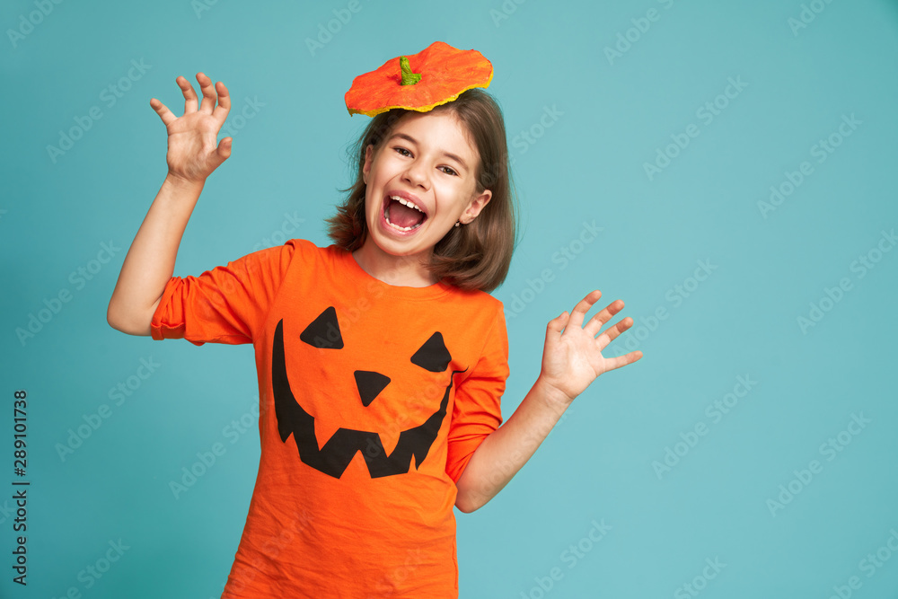 Fototapety, obrazy: little girl in pumpkin costume