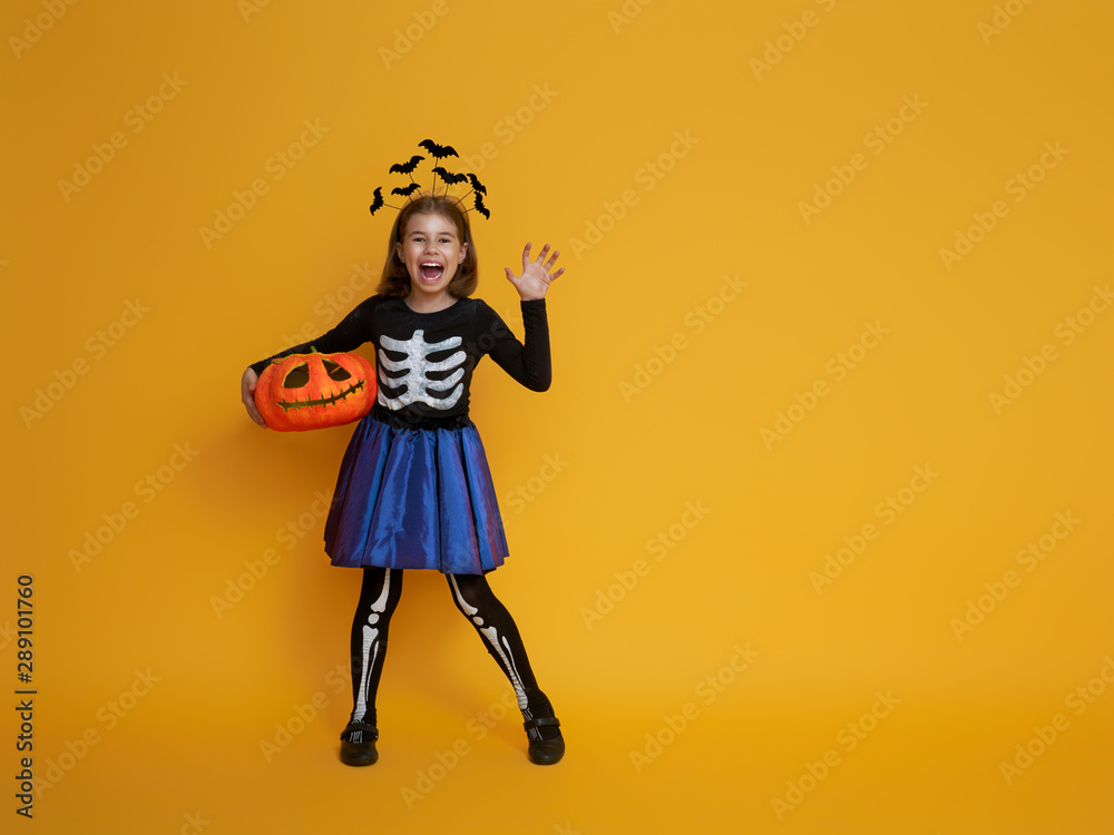 Fototapety, obrazy: little girl in skeleton costume