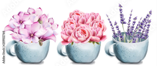 Leinwand Poster Rose, lavender and lilly flowers in ceramic cup card vector watercolor