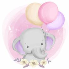 Cute Baby Elephant Playing Balloon