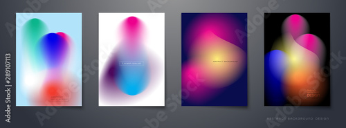 Fototapeta Vector set of abstract background, Composition colorful fluid abstraction, holographic and gradient color design for backgrounds. Layout template for banner, poster, wallpaper, flyer, brochure obraz na płótnie