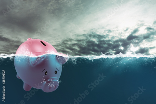 Lonely piggy bank sails in bad waters due to the crisis Canvas