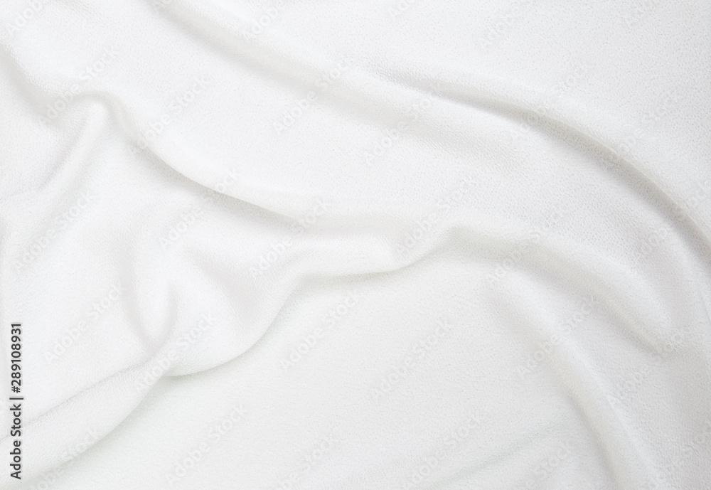 Fototapeta Blank white fabric texture background, waving white fabric pattern background