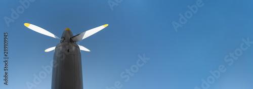 Obraz na plátně  Airplane propeller of military aircraft, copy space
