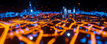 Abstract 3d Render Of Techno Mega City. Urban And Futuristic Visual Technology Concepts