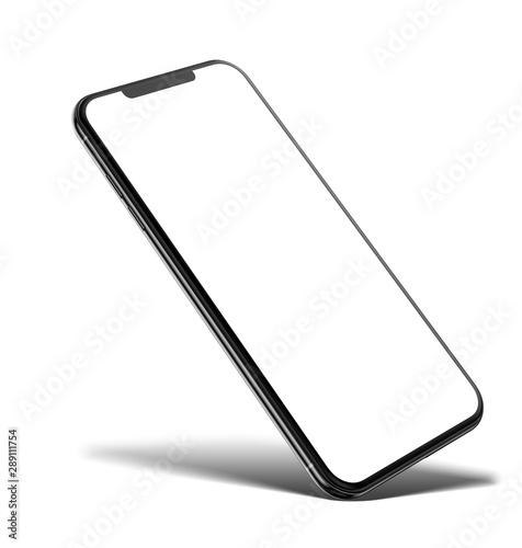 Fototapeta Smartphone frameless blank screen mockup template on corner isolated on white background obraz