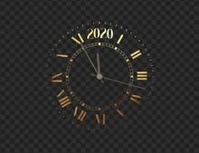 2020 New Year Shiny Gold Clock...