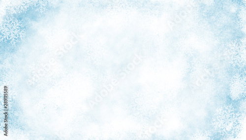 Abstract Blue white Winter Background with Snowflakes and Ice Effect - 289115589
