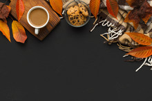 Creative Autumn Frame For Text With Coffee And Fallen Leaves