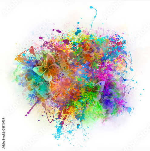 abstract magic colorful background with flowers