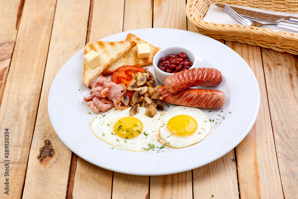 Fototapeta breakfast with sausage