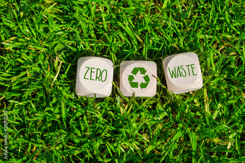 Fotografía  Cubes and dice in the green grass with zero waste and recycling logo