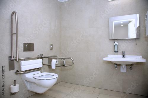 Behindertengerechte Toilette mit unterfahrbarem Waschbecken und Abstützmöglichke Canvas Print
