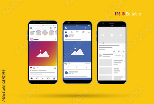 Fotografie, Obraz  Modern Social Media new feed, post and home page mockup with smartphone and editable background Vector