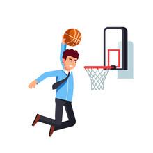 Business Man Performing Basket...