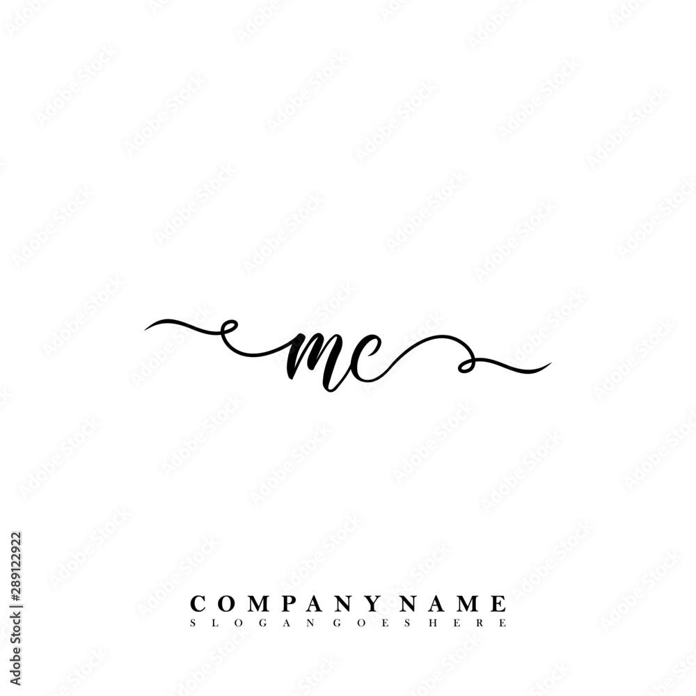Fototapeta Initial letter MC beauty vector handwriting concept logo