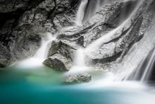 Stunning Silky Smooth Waterfall. Long Exposure Shot Of Crystal Clear Fall At Hoang Su Phi, Vietnam. Ha Giang Province Landscape. Yoga And Meditation Concept.