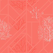 Coral Background, Seamless Pattern. Color Of The Year. Vector Illustration