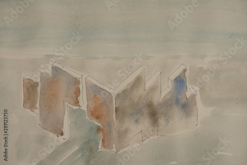 Montage in der Fensternische Darknightsky Abstract mystic wall landscape