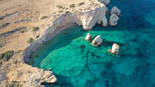 Aerial Drone Photo Of Secluded Paradise Beach Of Kasteli In North Area Of Kato Koufonissi Island, Koufonissia, Small Cyclades, Greece