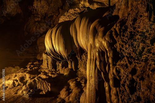 Lotus stalactites in the Nguom Ngao cave in North Vietnam, Cao Bang province. Tourist attraction.