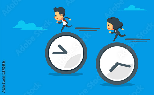a man and woman running on top of clock. Wallpaper Mural