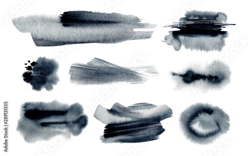 Abstract watercolor blot painted background. Texture paper.