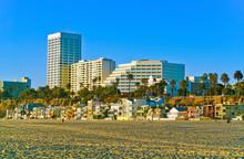 View Of Santa Monica Beach In Santa Monica On A Sunny Day.